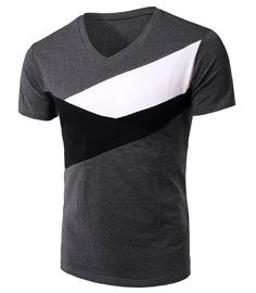 Slimming Color BlockV-Neck Short Sleeves T-Shirt For Men. Made of cotton blend and available in navy, green and grey.