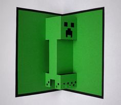 But if you prefer those pixels in 31 DIY Birthday Party Ideas That Will Blow Your Minecraft Minecraft Birthday Card, Diy Birthday, Birthday Cards, Birthday Parties, Tea Parties, 3d Cards, Pop Up Cards, Kirigami, Minecraft Invitations