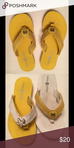 Switch Flops Flip Flops Very good condition, not much if any wear on the bottom. There is a minor discoloration from my feet and wearing but Switch Flops Straps are attached with Velcro and can be switched from pair to pair..  I have included a picture of the switchflops with the straps switched. This post is for the YELLOW pair with the yellow straps only. These can we easily wiped off and the straps hand washed. Lindsey Phillips Shoes Sandals