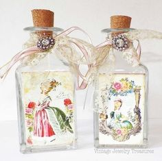 Lot of 2 Victorian Ladies Decorative Vanity Perfume Bottle Shabby Cottage Chic $26.99