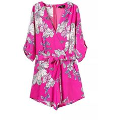 """Guardian Angel"" Floral Hot Pink Onepiece Romper Playsuit ($45) ❤ liked on Polyvore featuring jumpsuits, rompers, pink rompers, pink romper, pink floral romper, floral rompers and hot pink romper"