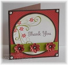 Mainly Flowers: Ruby and Chocolate Thank You Card