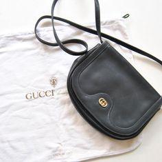 Vintage Leather Gucci Shoulder Bag in Navy Gold by ModernSquirrel