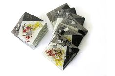 Set of 6 Black and White Glass Coasters – Zeus Collection £26.00  A set of six square fused glass coasters from the distinctive geometric black and white Zeus collection.
