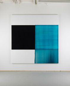 Callum Innes, 2013 Exposed Painting Phthalocyanine Blue Oil on Linen | 240 x 232cm