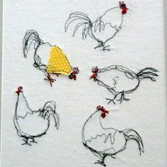 Chickens - freestyle machine embroidery.  I have tremendous trouble sewing a straight line with the machine - this might suit me better!