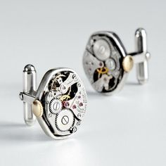 Time is of the essence, and now it's also an essential feature of his wardrobe. These unique watch-part cuff links are handmade from genuine antique watch works.