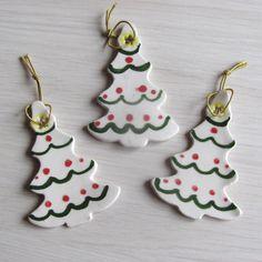 Christmas Ornaments Ceramic Pottery  Set of Three Handmade Hand Painted Ceramics. $7.95, via Etsy.