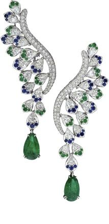 Avakian -  Emeralds, blue sapphires and diamonds earrings