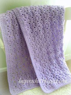 Soft Crochet Lacy Stitch Baby Blanket , FREE pattern. #diy #crafts #crochet