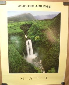 Maui Hawaii Original 1985 Travel Poster by United Air Lines | eBay