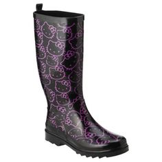 Hello Kitty Rainboots!!! If they were hot pink with black hello kitties, it would be way cuter