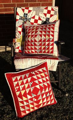 """""""'Nough Said"""" quilt and bonus pillow. Quilt on moda bakeshop / half square triangles Patchwork Cushion, Quilted Pillow, Millefiori Quilts, Red And White Quilts, Quilting, Half Square Triangles, Doll Quilt, How To Make Pillows, Mini Quilts"""