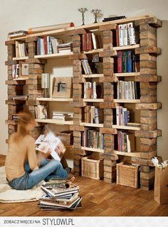 Brick & Wood Bookcase.  I can see this with mixed grey bricks and grey barnwood!