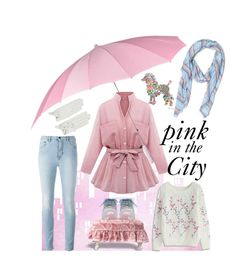 """Pink in the City"" by kleasterling on Polyvore featuring Irregular Choice, Causse, J.Crew, Chicwish, Pink, pinkandblue, colorscheme and pinkcoat"