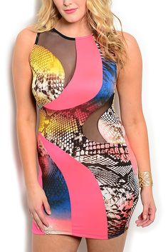 DHStyles Women's Pink Black Plus Size Sexy Fitted Sheer Mesh Snakeskin Club Dress - 1X Plus #sexytops #clubclothes #sexydresses #fashionablesexydress #sexyshirts #sexyclothes #cocktaildresses #clubwear #cheapsexydresses #clubdresses #cheaptops #partytops #partydress #haltertops #cocktaildresses #partydresses #minidress #nightclubclothes #hotfashion #juniorsclothing #cocktaildress #glamclothing #sexytop #womensclothes #clubbingclothes #juniorsclothes #juniorclothes #trendyclothing…