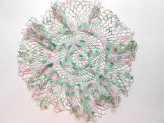 Vintage Pink and Green Crocheted Doily by lizandjaybooksnmore