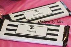 CoCo Chanel Black and White Stripe Candy Labels Sold in Sets of 10 Chanel Birthday Party, Chanel Party, Candy Labels, Candy Bar Wrappers, Coco Chanel, Chanel Pink, Chanel Logo, Chanel Black, Chanel Bridal Shower