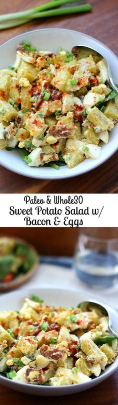 Paleo & Whole30 Sweet Potato Salad with Bacon, Eggs, Green onion and Paleo mayo. Japanese or white sweet potatoes preferable!