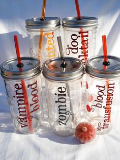HALLOWEEN Party Mason Jar Vampire Blood by © bittersweetlemonade How many times! Just use glasses people. Halloween Goodies, Holidays Halloween, Halloween Treats, Halloween Party, Halloween Decorations, Zombie Birthday, Zombie Party, Zombie Wedding, Favorite Holiday
