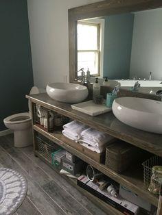 Rustic His and Hers Bathroom Vanity by PineandNeedleDesigns on Etsy https://www.etsy.com/listing/227334880/rustic-his-and-hers-bathroom-vanity
