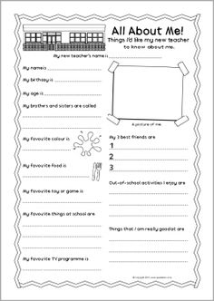 New teacher 'all about me' pupil information sheet