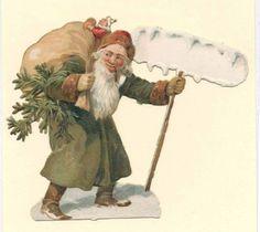 006 Alte Oblate Glanzbild    Weihnachtsmann  Litho.( 8 x 9,5 cm) um 1890