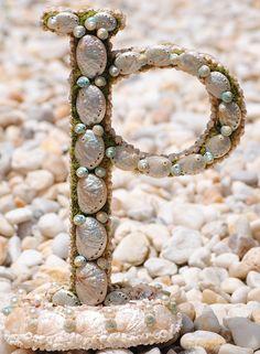 genuine OOAK Sea Shell covered Letter P