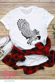 Bird Lovers. Cute Animal Love. Nature Shirt. Wear the good that you believe in! Inspiring responsible stewardship and raising awareness through trendy and stylish t-shirt designs. Adult unisex fits true to size. We proudly donate $1 to a local animal shelter for every animal graphic t-shirt you buy. FREE shipping for all US orders. #gigilxclusive #owl #birdlovers #cuteshirts #coffeetime #graphictee Owl Coffee, Animal Graphic, Coffee Club, Badass Style, Cute Owl, Basic Tees, Graphic Shirts, Pinterest Board, Animal Shelter