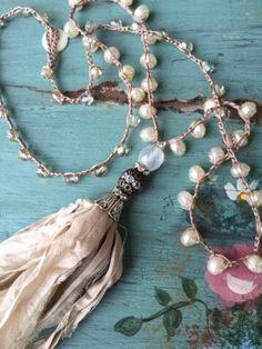 Items similar to Shabby BoHo Chic crochet romantic sari silk tassel neutral glass pearl czech beads unique jewelry by MarleeLovesRoxy on Etsy Ribbon Jewelry, Tassel Jewelry, Gypsy Jewelry, Fabric Jewelry, Jewelry Crafts, Beaded Jewelry, Jewelery, Handmade Jewelry, Unique Jewelry