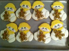 snow baby holding gingerbread boy  cookies