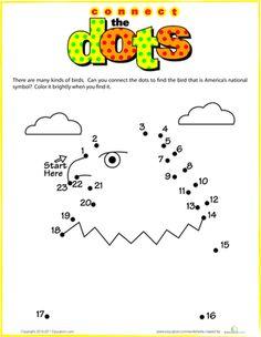 Kindergarten Dot-to-Dots Counting & Numbers Worksheets: Bald Eagle Dot-to-Dot Kindergarten Social Studies, Kindergarten Math Worksheets, Worksheets For Kids, Eagle Facts, Eagle Craft, First Grade Math, Grade 1, Craft Activities For Kids, Math Activities
