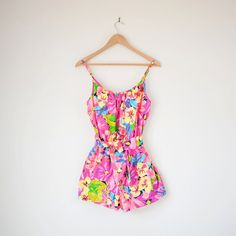 1970s vintage swimsuit / pink yellow tropical floral / 70s romper Catalina playsuit S / M