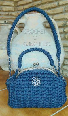 Crochet o ganchillo: BOLSO DE TRAPILLO FLOWER CON BOQUILLA PLATEADA