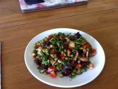 Lentil, pea and bean shoots with Prawns, Pomegranate, tomato, rocket and beetroot salad with a mint dressing from Elisa Superfood Salad, Beetroot, Prawn, Summer Salads, Superfoods, Lentils, Pomegranate, Competition, Good Food