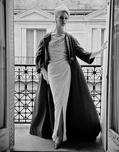 Anne Larsen in Simonetta-Fabiani evening dress and cloak. Photo by John French for the Daily Mail, London, 1962