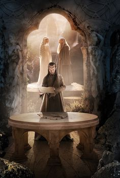 Elrond, Galadriel and Gandalf, all part of the White Council meeting at Rivendell in the Hobbit movie.