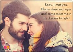Romantic Love SMS For Girlfriend - In My Dreams Love Images For Lover, Romantic Love Sms, Love Messages For Wife, Cute Love Quotes, I Miss You, Girlfriends, Romance, Relationship, Dreams
