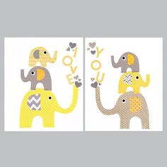 Yellow and Grey Animal Train Nursery Artwork Print // Baby Room Decoration // Kids Room Decoration // Gifts Under 50 on Etsy, $28.00