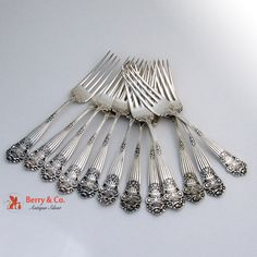 Georgian Set of 12 Forks Towle Sterling Silver 1898
