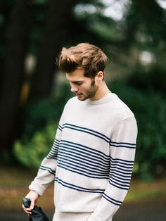 25 Stylish Hot Guys In Stripes -- Bailey Sondag -- Beard and Striped Sweater -- Mens Style -- Via Kyle S Ford photo Fashion Guys, Fashion Moda, Mens Fashion, Style Fashion, Hipster Fashion, Hipster Sweater, Sweater Fashion, Men Sweater, Men Hipster