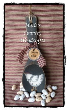 Hand painted country chicken  wooden spoon