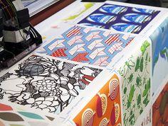 Custom printed fabric, wallpaper, etc. All Spoonflower fabric is custom printed in Durham, NC.