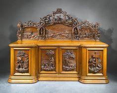 Antique Robinson Crusoe Sideboard Carved in English Oak    c. 1862 ~ M.S. Rau Antiques