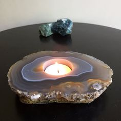Natural Agate Candle Holder by NinaMantra on Etsy