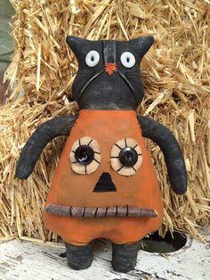 Primitive Grungy Halloween Black Cat Pumpkin Costume Cat Doll JOL Folk Art Fall | Antiques, Primitives | eBay!