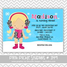 Winter Zebra Pool Party Personalized Party Invitation-personalized invitation, photo card, photo invitation, digital, party invitation, birthday, shower, announcement, printable, print, diy,pool, swim, swimming