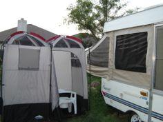 bathroom for popup camper Camper Life, Rv Campers, Camper Trailers, Camper Hacks, Camper Ideas, Tent Camping, Camping Gear, Camping Storage, Camping Tools