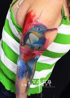 Little Kingfisher Bird   http://instagram.com/ivanatattooart  www.ivanatattooart.com  https://www.facebook.com/pages/Ivana-Tattoo-Art/208943449123095  http://pinterest.com/ivanatattooart/ivana-tattoo-art/