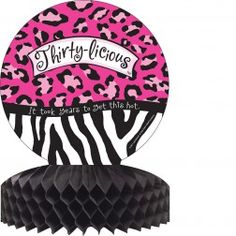 """Make 30 delicious! The Thirty-licious Honeycomb Centerpiece is the perfect table topper for your Flirty Thirty Party. This decorative centerpiece features a medallion with hot pink leopard print, and zebra stripes, the words """"Thirty-licious,"""" and a ribbon 50th Birthday Party Decorations, 30th Birthday Parties, Party Centerpieces, Table Decorations, Birthday Ideas, Google Plus, African Theme, Party Stores, Zebra Print"""